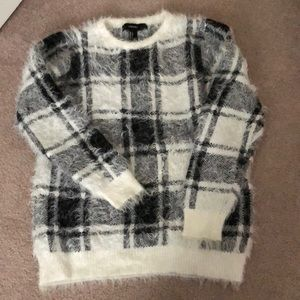 Forever 21 Fuzzy Plaid Sweater